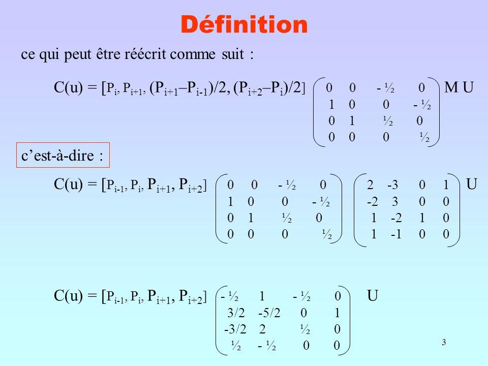 3 Définition ce qui peut être réécrit comme suit : C(u) = [ P i, P i+1, (P i+1 –P i-1 )/2, (P i+2 –P i )/2 ] 0 0 - ½ 0 M U 1 0 0 - ½ 0 1 ½ 0 0 0 0 ½ c'est-à-dire : C(u) = [ P i-1, P i, P i+1, P i+2 ] 0 0 - ½ 0 2 -3 0 1 U 1 0 0 - ½ -2 3 0 0 0 1 ½ 0 1 -2 1 0 0 0 0 ½ 1 -1 0 0 C(u) = [ P i-1, P i, P i+1, P i+2 ] - ½ 1 - ½ 0 U 3/2 -5/2 0 1 -3/2 2 ½ 0 ½ - ½ 0 0