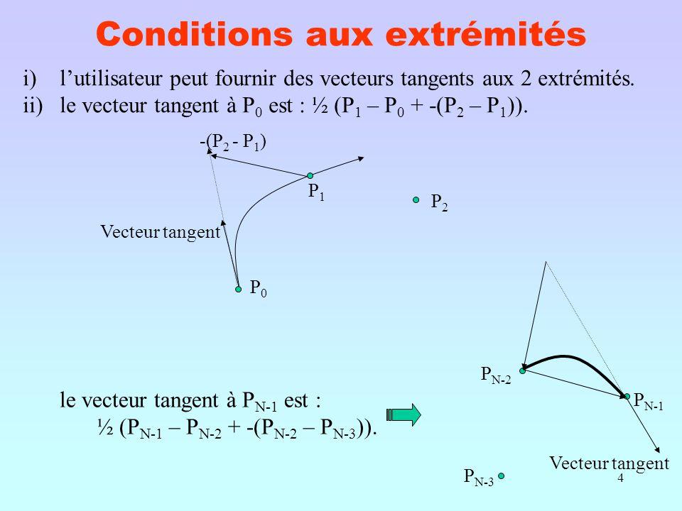 4 Conditions aux extrémités i)l'utilisateur peut fournir des vecteurs tangents aux 2 extrémités.