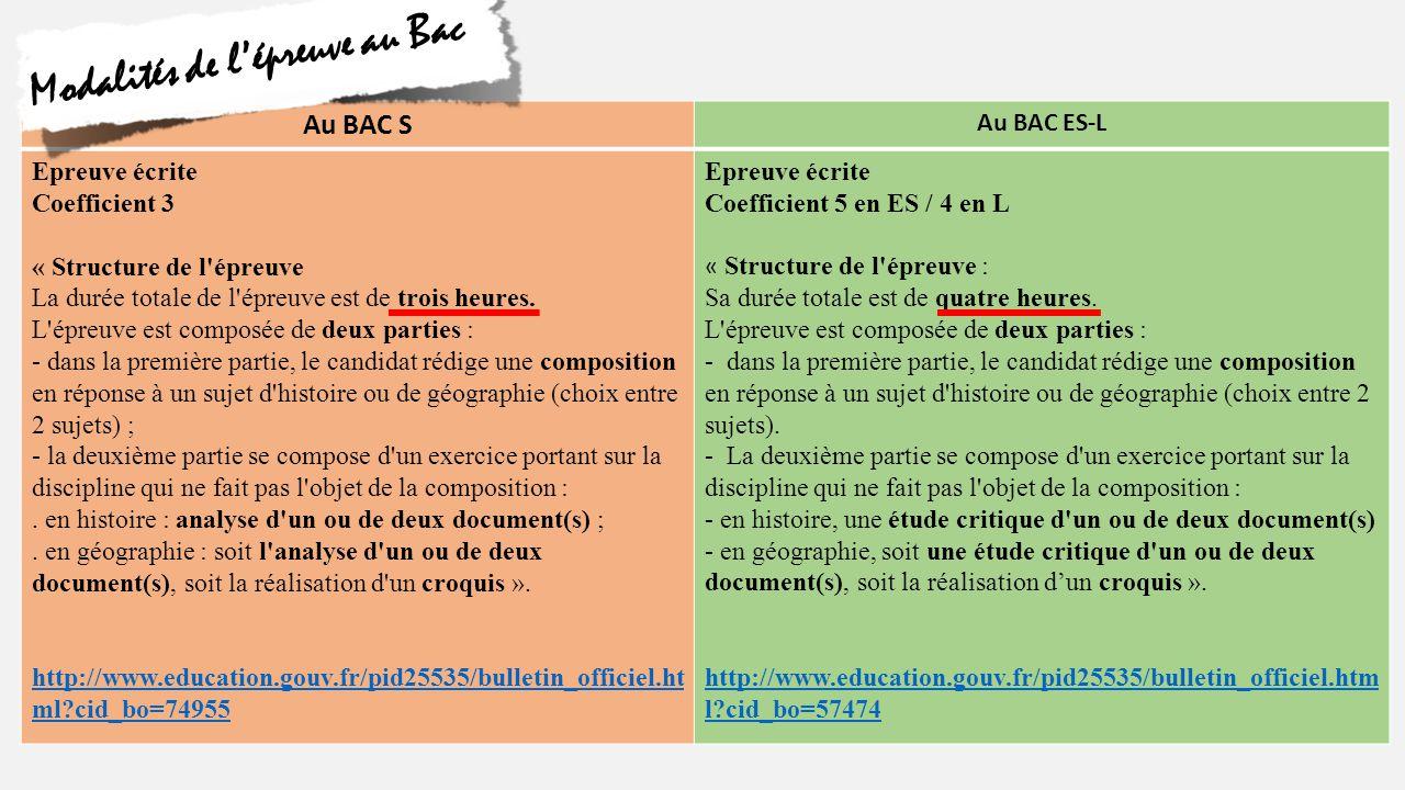 Au BAC S Au BAC ES-L Composée de 2 exercices : -Epreuve longue -Epreuve courte « L évaluation de la copie du candidat est globale et doit utiliser tout l éventail des notes de 0 à 20.