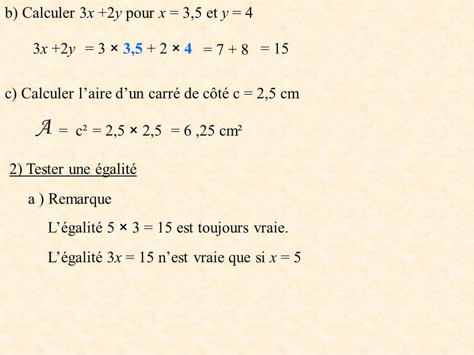 b) Calculer 3x +2y pour x = 3,5 et y = 4 3x +2y= 3 × 3,5 + 2 × 4 = 7 + 8 = 15 c) Calculer l'aire d'un carré de côté c = 2,5 cm A = c²= 2,5 × 2,5= 6,25 cm² 2) Tester une égalité a ) Remarque L'égalité 5 × 3 = 15 est toujours vraie.