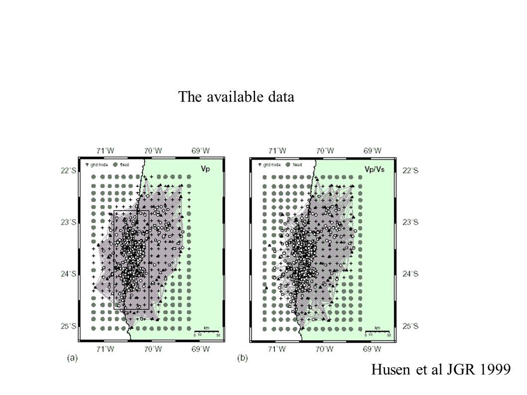 The available data Husen et al JGR 1999