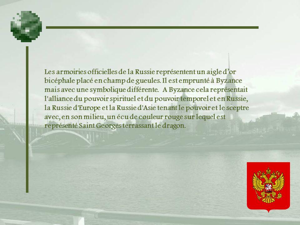 Les armoiries officielles de la Russie représentent un aigle d'or bicéphale placé en champ de gueules.