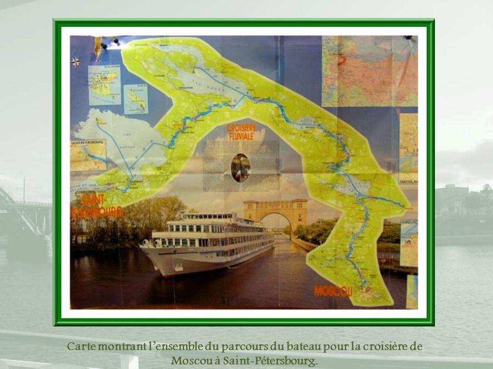 Carte montrant l'ensemble du parcours du bateau pour la croisière de Moscou à Saint-Pétersbourg.