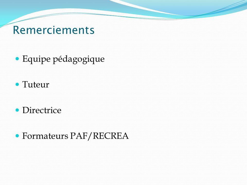 Equipe pédagogique Tuteur Directrice Formateurs PAF/RECREA Remerciements