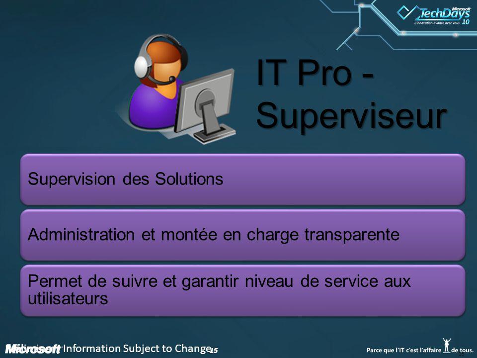 15 Supervision des SolutionsAdministration et montée en charge transparente Permet de suivre et garantir niveau de service aux utilisateurs IT Pro - S