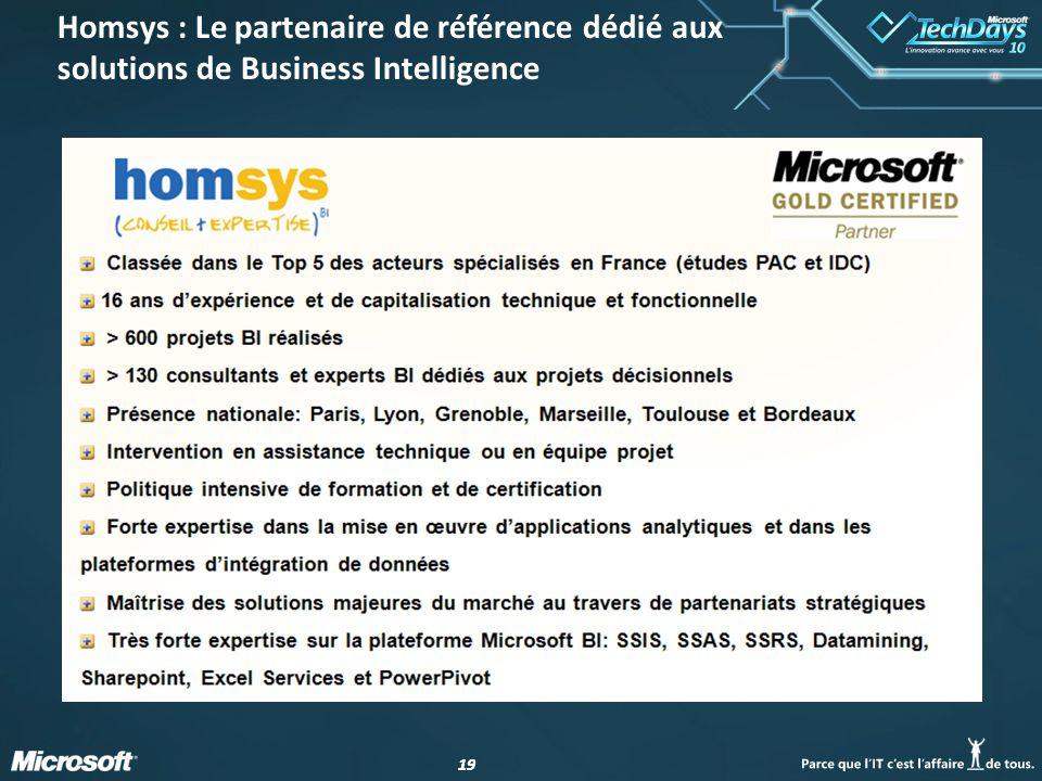 19 Homsys : Le partenaire de référence dédié aux solutions de Business Intelligence