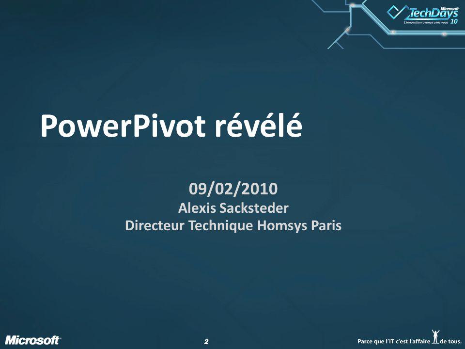 22 PowerPivot révélé 09/02/2010 Alexis Sacksteder Directeur Technique Homsys Paris