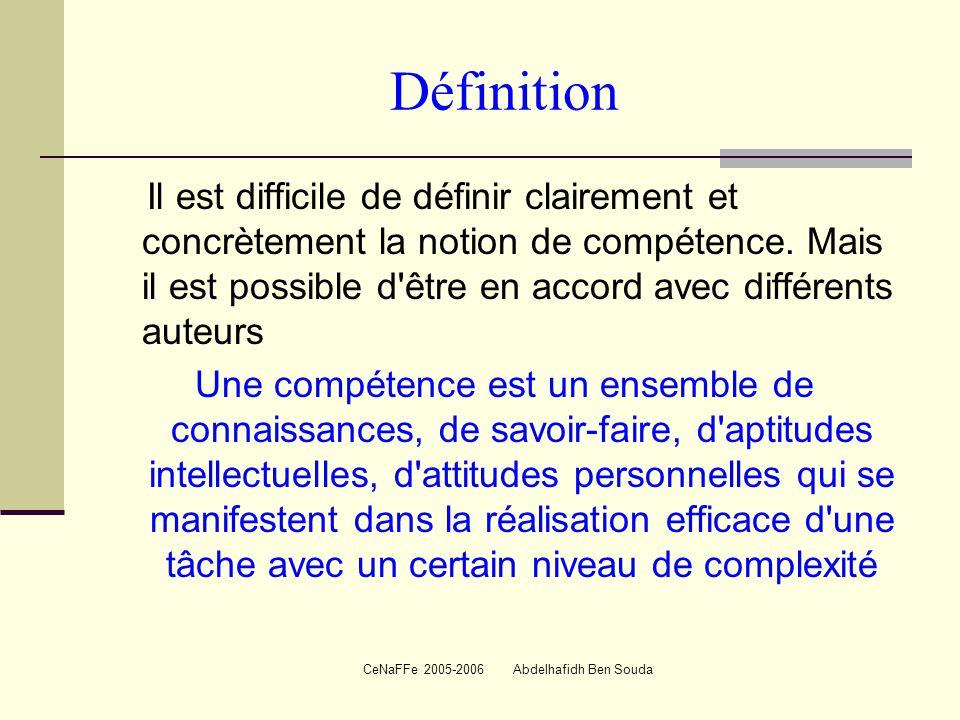 CeNaFFe 2005-2006 Abdelhafidh Ben Souda Définition Il est difficile de définir clairement et concrètement la notion de compétence.