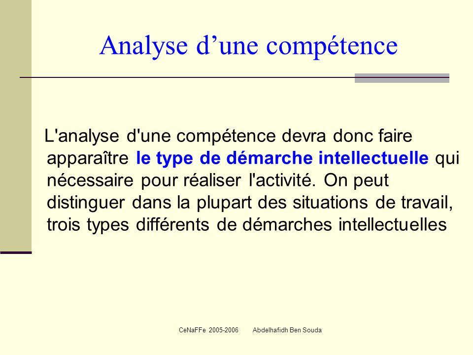 CeNaFFe 2005-2006 Abdelhafidh Ben Souda Analyse d'une compétence L analyse d une compétence devra donc faire apparaître le type de démarche intellectuelle qui nécessaire pour réaliser l activité.