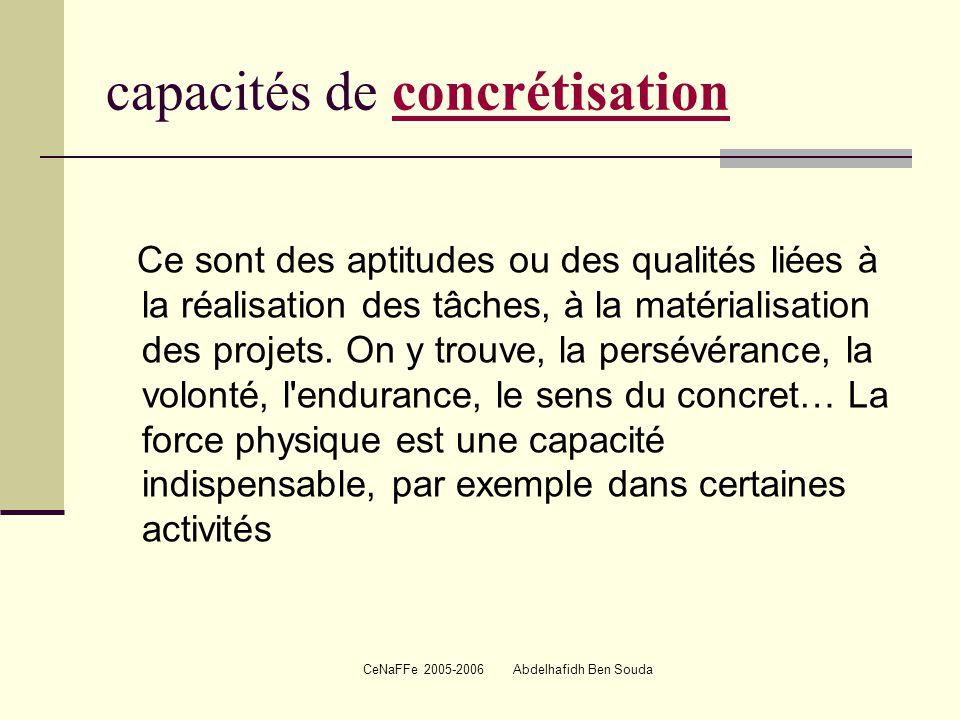 CeNaFFe 2005-2006 Abdelhafidh Ben Souda capacités de concrétisationconcrétisation Ce sont des aptitudes ou des qualités liées à la réalisation des tâches, à la matérialisation des projets.