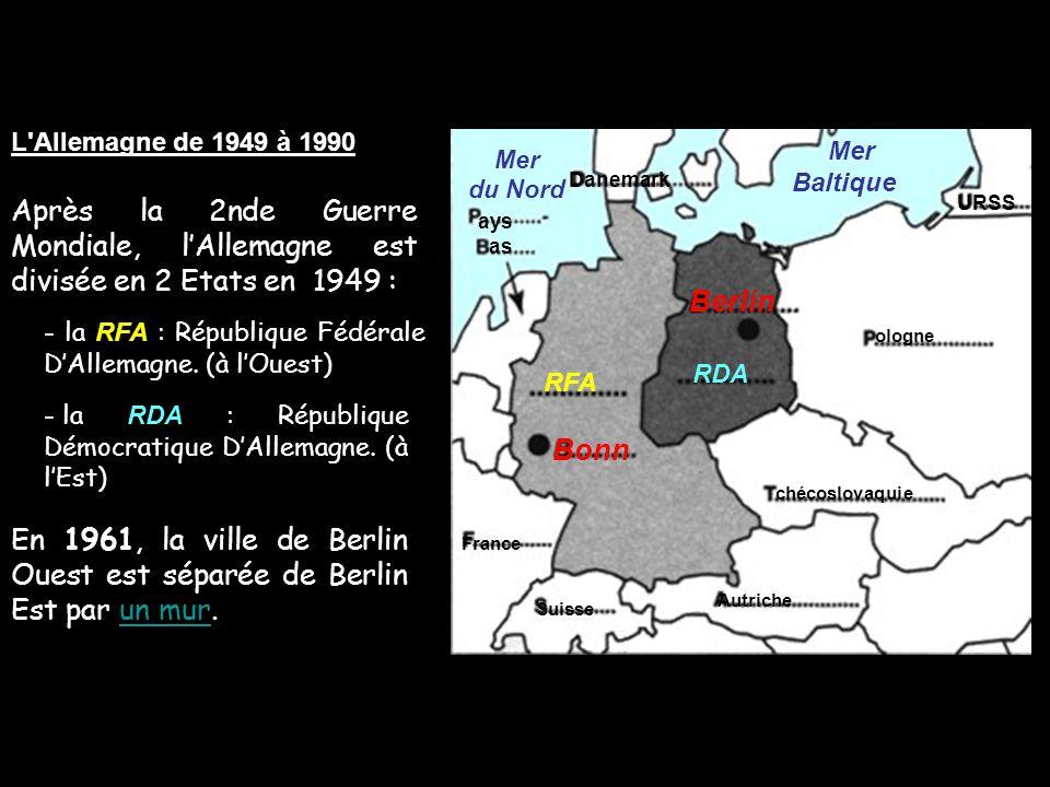 L'Allemagne de 1949 à 1990 Mer du Nord Mer Baltique RFA Berlin France chécoslovaquie ologne Autriche RDA Bonn Suisse URSS ays as Danemark En 1961, la