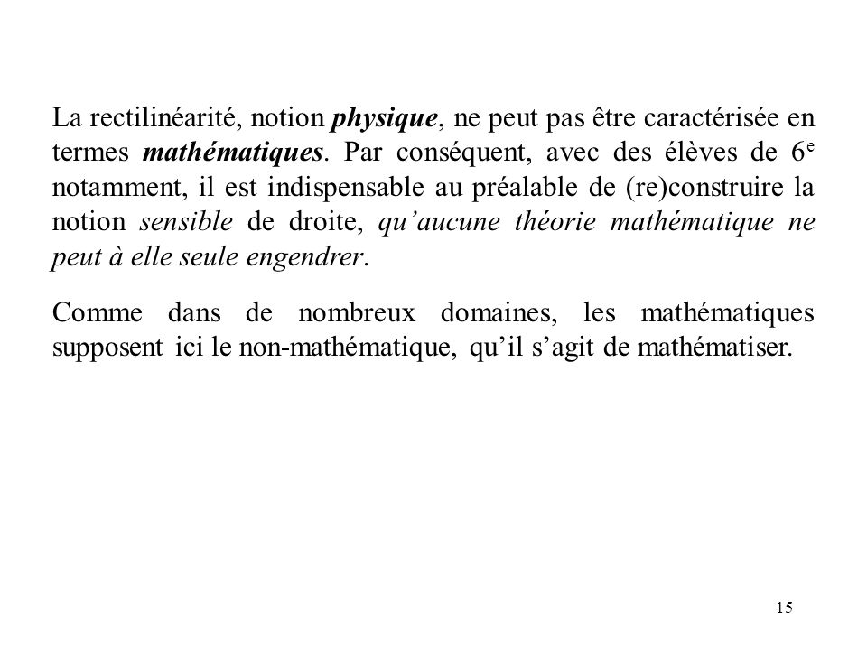 15 La rectilinéarité, notion physique, ne peut pas être caractérisée en termes mathématiques. Par conséquent, avec des élèves de 6 e notamment, il est