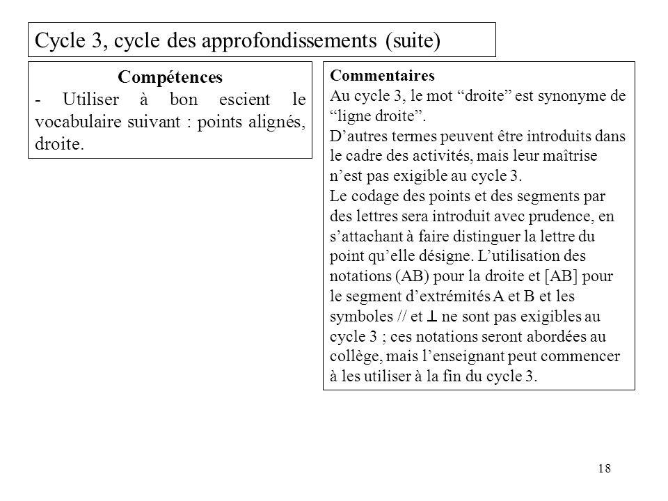 18 Cycle 3, cycle des approfondissements (suite) Compétences - Utiliser à bon escient le vocabulaire suivant : points alignés, droite. Commentaires Au