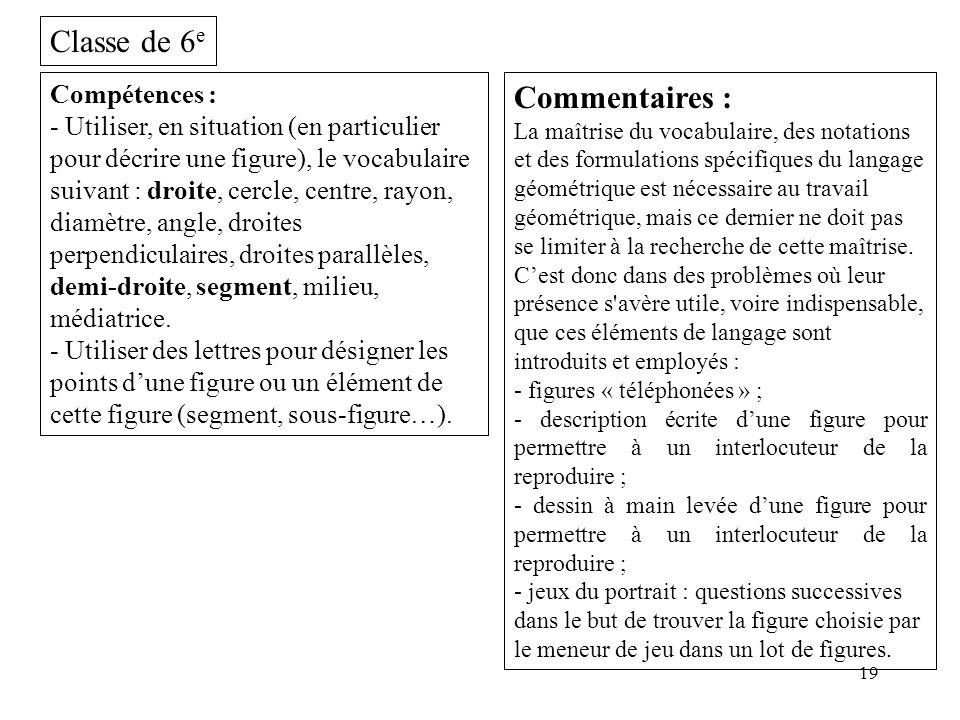 19 Classe de 6 e Compétences : - Utiliser, en situation (en particulier pour décrire une figure), le vocabulaire suivant : droite, cercle, centre, ray