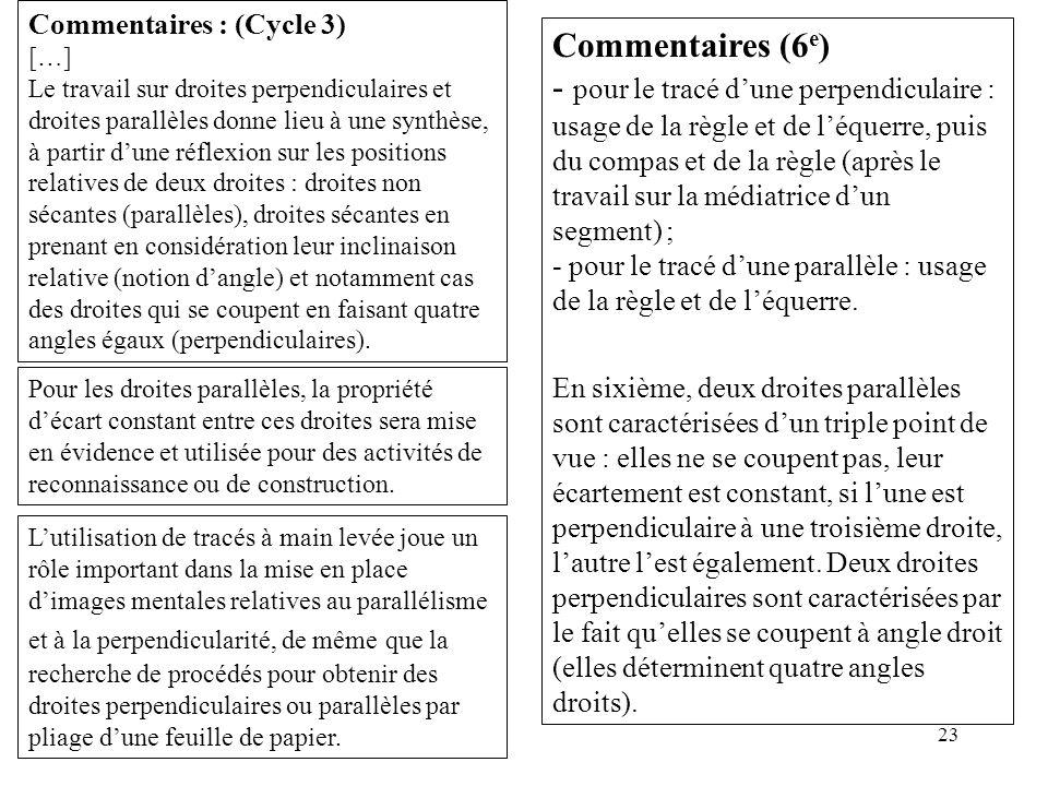 23 Commentaires : (Cycle 3) […] Le travail sur droites perpendiculaires et droites parallèles donne lieu à une synthèse, à partir d'une réflexion sur