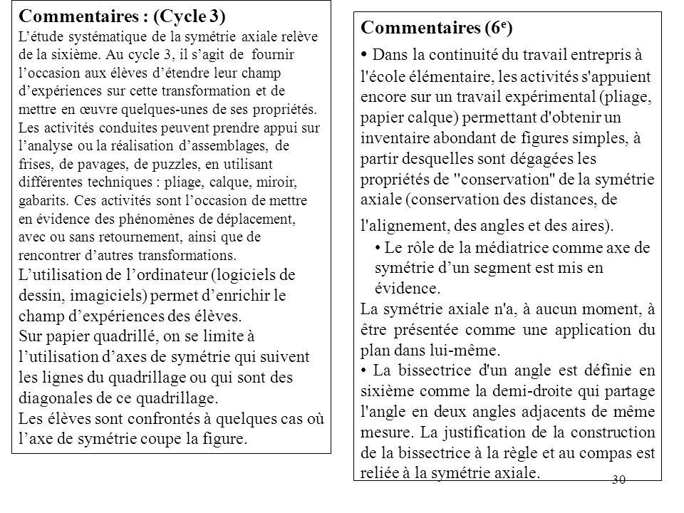 30 Commentaires : (Cycle 3) L'étude systématique de la symétrie axiale relève de la sixième. Au cycle 3, il s'agit de fournir l'occasion aux élèves d'