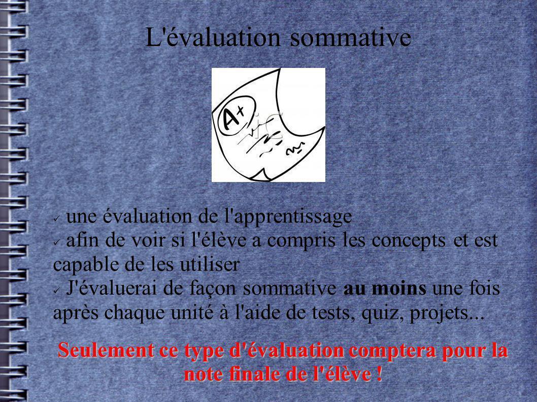 L'évaluation sommative une évaluation de l'apprentissage afin de voir si l'élève a compris les concepts et est capable de les utiliser J'évaluerai de