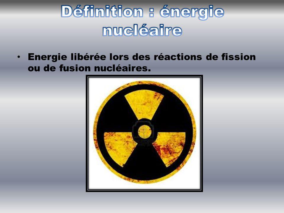 Energie libérée lors des réactions de fission ou de fusion nucléaires.