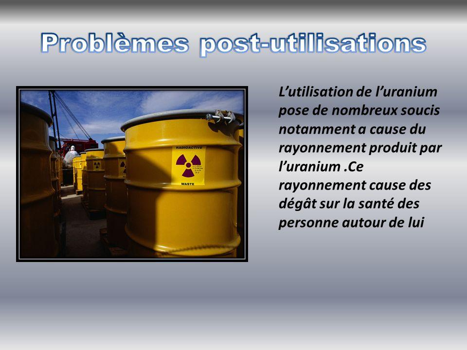 L'utilisation de l'uranium pose de nombreux soucis notamment a cause du rayonnement produit par l'uranium.Ce rayonnement cause des dégât sur la santé des personne autour de lui