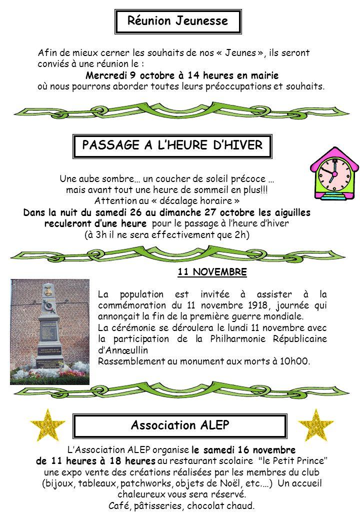 L'Association ALEP organise le samedi 16 novembre de 11 heures à 18 heures au restaurant scolaire le Petit Prince une expo vente des créations réalisées par les membres du club (bijoux, tableaux, patchworks, objets de Noël, etc.…) Un accueil chaleureux vous sera réservé.