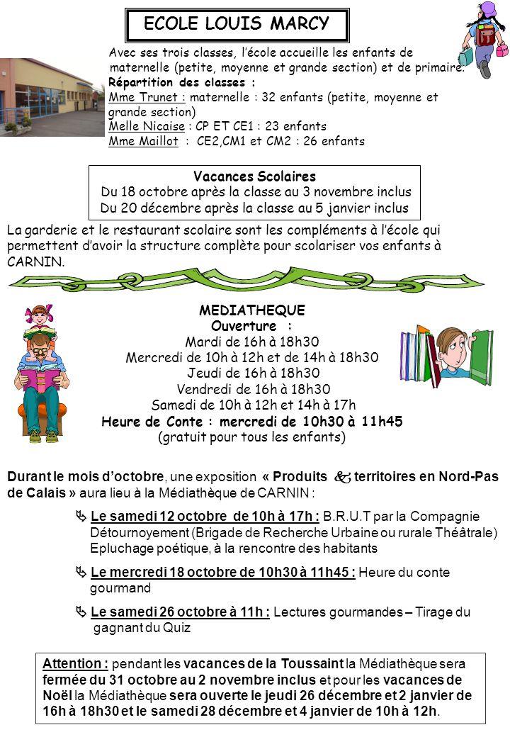 ECOLE LOUIS MARCY Avec ses trois classes, l'école accueille les enfants de maternelle (petite, moyenne et grande section) et de primaire. Répartition
