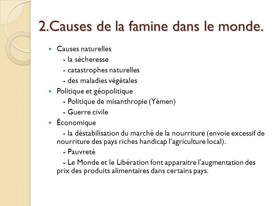 2.Causes de la famine dans le monde. Causes naturelles - la sécheresse - catastrophes naturelles - des maladies végétales Politique et géopolitique -