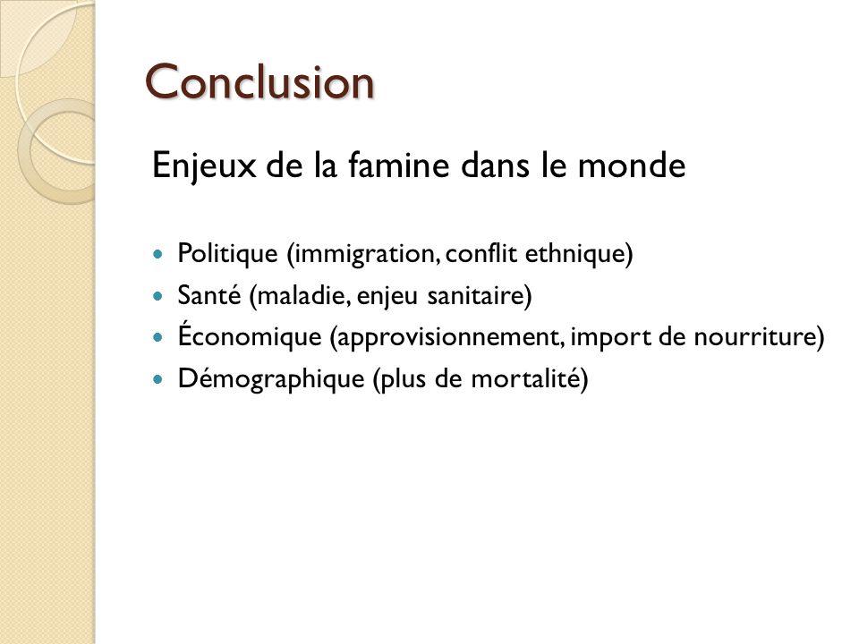 Conclusion Enjeux de la famine dans le monde Politique (immigration, conflit ethnique) Santé (maladie, enjeu sanitaire) Économique (approvisionnement,