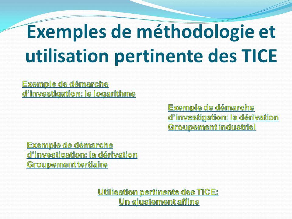 Exemples de méthodologie et utilisation pertinente des TICE