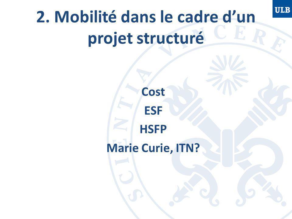 2. Mobilité dans le cadre d'un projet structuré Cost ESF HSFP Marie Curie, ITN