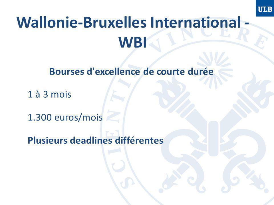 Wallonie-Bruxelles International - WBI Bourses d excellence de courte durée 1 à 3 mois 1.300 euros/mois Plusieurs deadlines différentes