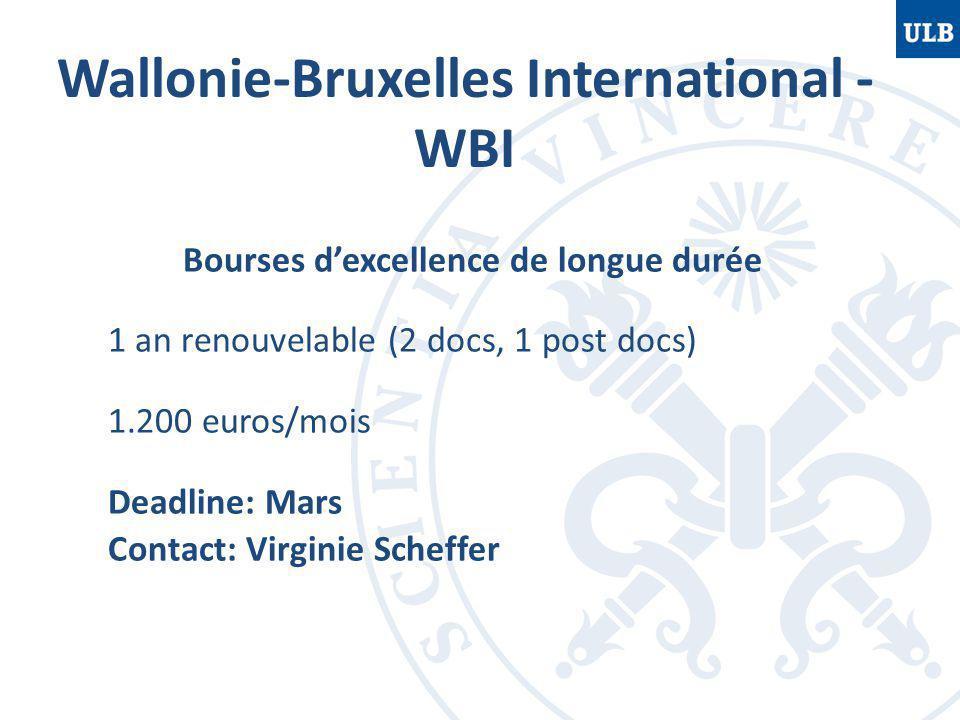 Bourses d'excellence de longue durée 1 an renouvelable (2 docs, 1 post docs) 1.200 euros/mois Deadline: Mars Contact: Virginie Scheffer Wallonie-Bruxe