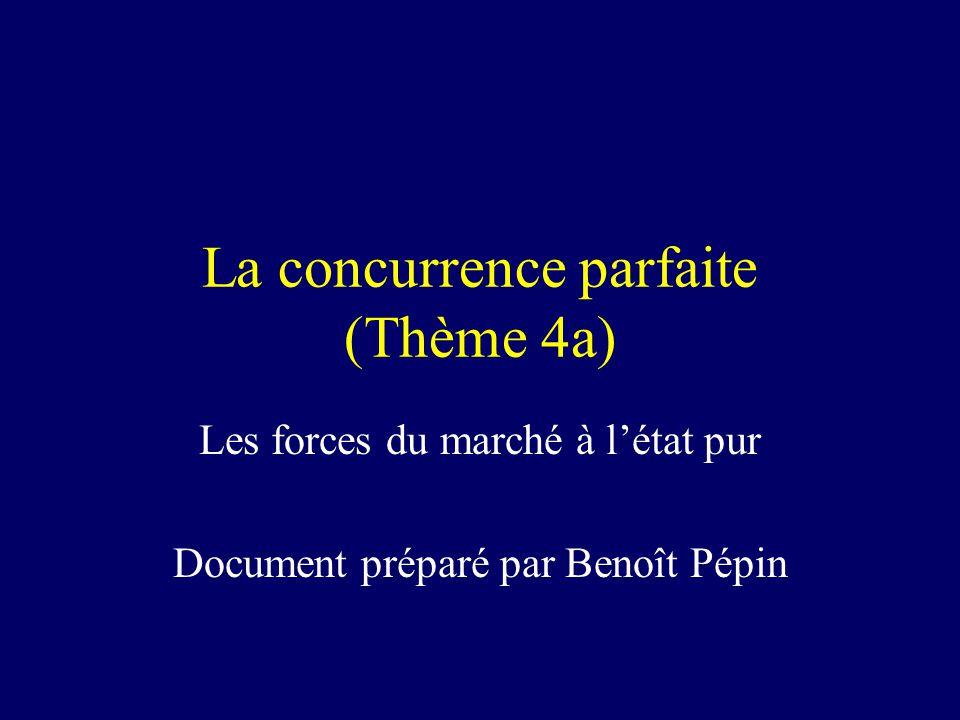 La concurrence parfaite (Thème 4a) Les forces du marché à l'état pur Document préparé par Benoît Pépin