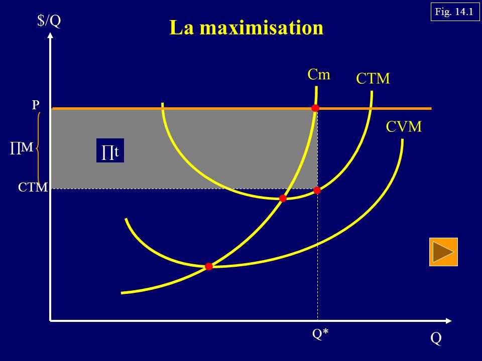 Q $/Q La maximisation Cm CTM CVM P CTM Q* ∏M ∏t Fig. 14.1