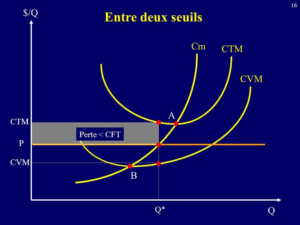 16 Q $/Q Entre deux seuils Cm CTM CVM CTM P CVM Q* A B Perte < CFT