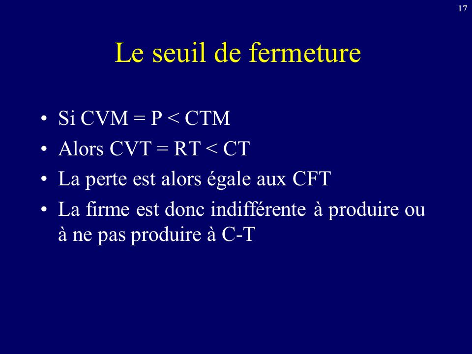 17 Le seuil de fermeture Si CVM = P < CTM Alors CVT = RT < CT La perte est alors égale aux CFT La firme est donc indifférente à produire ou à ne pas p