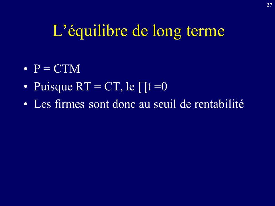 27 L'équilibre de long terme P = CTM Puisque RT = CT, le ∏t =0 Les firmes sont donc au seuil de rentabilité