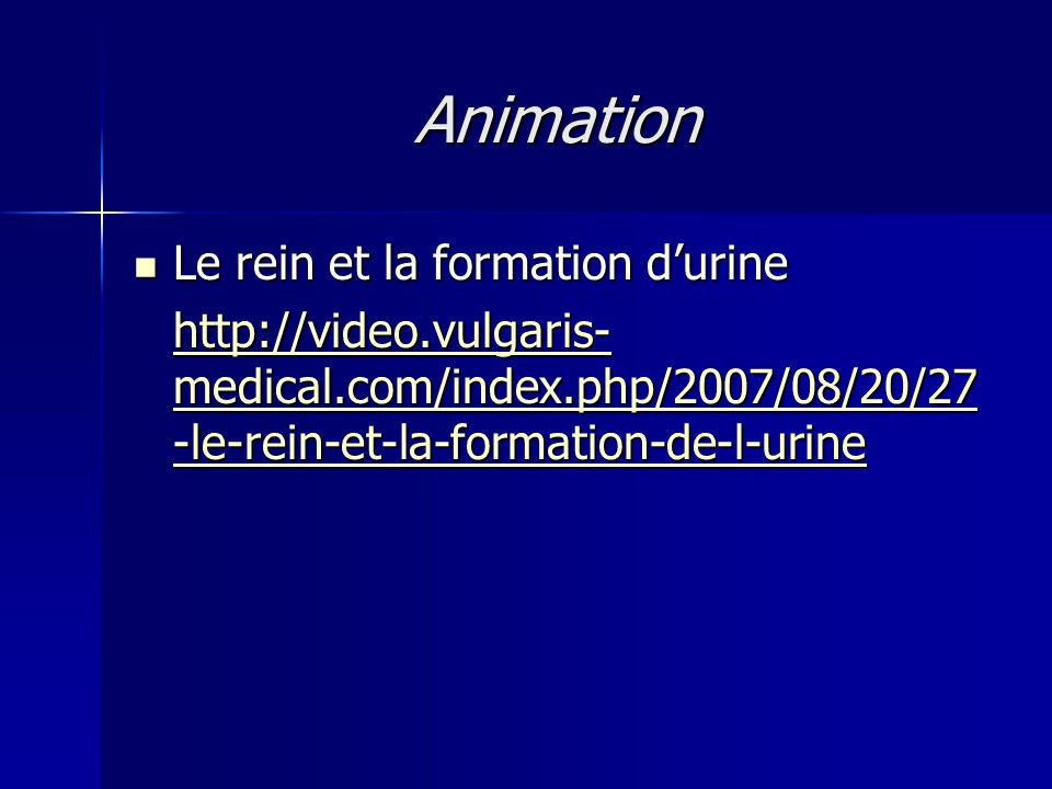 Animation Le rein et la formation d'urine Le rein et la formation d'urine http://video.vulgaris- medical.com/index.php/2007/08/20/27 -le-rein-et-la-fo