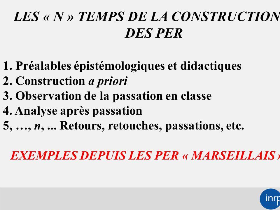 LES « N » TEMPS DE LA CONSTRUCTION DES PER 1. Préalables épistémologiques et didactiques 2.