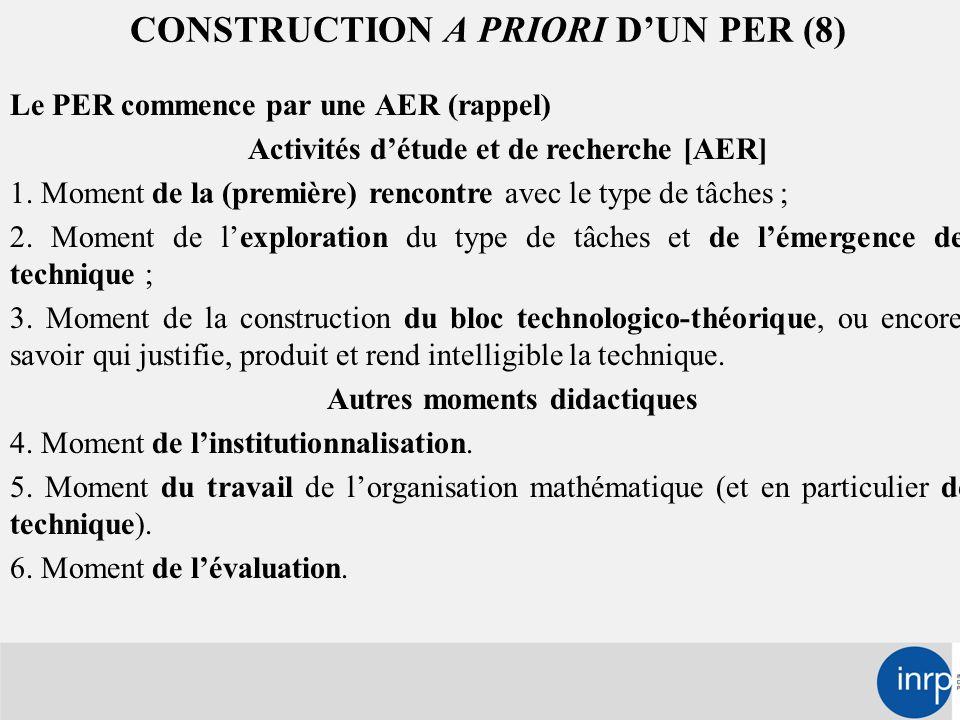 CONSTRUCTION A PRIORI D'UN PER (8) Le PER commence par une AER (rappel) Activités d'étude et de recherche [AER] 1.
