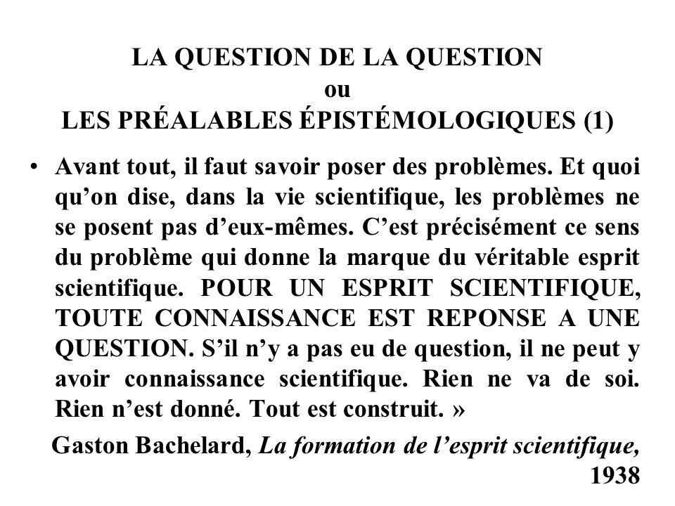 LA QUESTION DE LA QUESTION ou LES PRÉALABLES ÉPISTÉMOLOGIQUES (1) Avant tout, il faut savoir poser des problèmes.