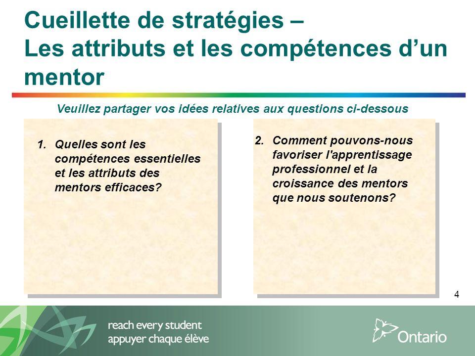 4 Cueillette de stratégies – Les attributs et les compétences d'un mentor Veuillez partager vos idées relatives aux questions ci-dessous 1.Quelles sont les compétences essentielles et les attributs des mentors efficaces.