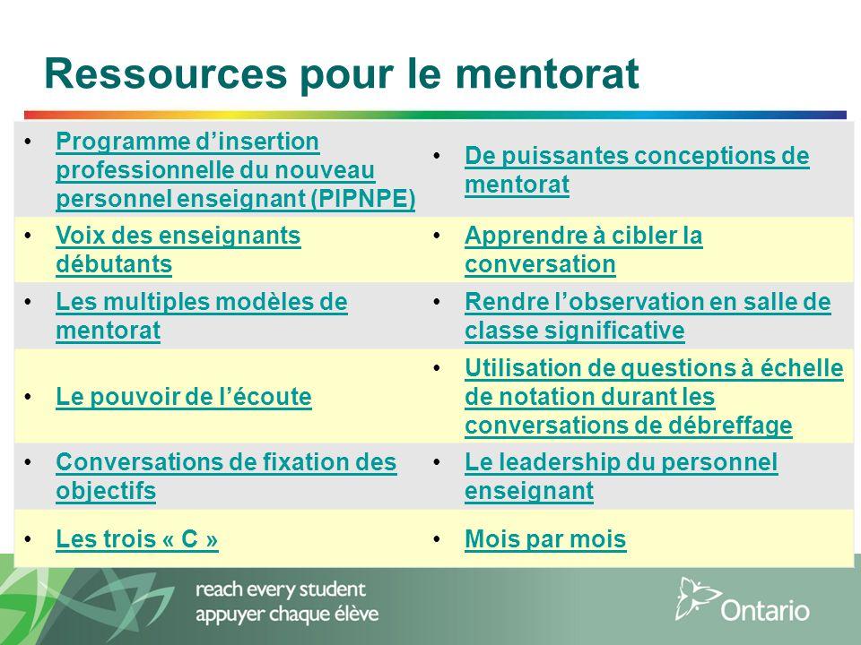 5 Ressources pour le mentorat Programme d'insertion professionnelle du nouveau personnel enseignant (PIPNPE)Programme d'insertion professionnelle du n