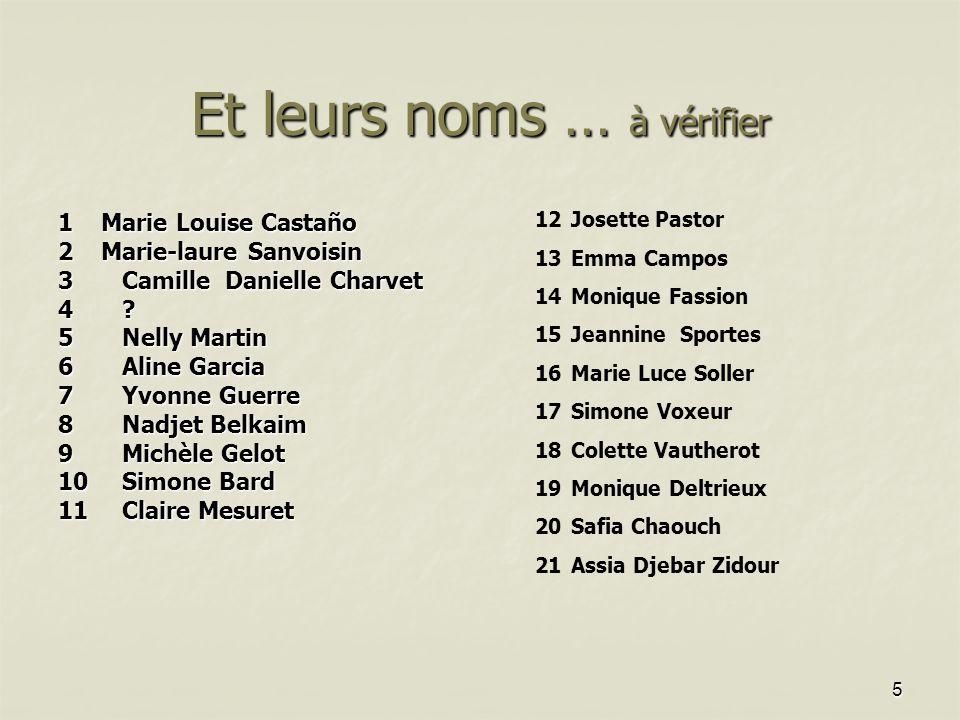 5 Et leurs noms … à vérifier 1 Marie Louise Castaño 2 Marie-laure Sanvoisin 3Camille Danielle Charvet 3Camille Danielle Charvet 4.