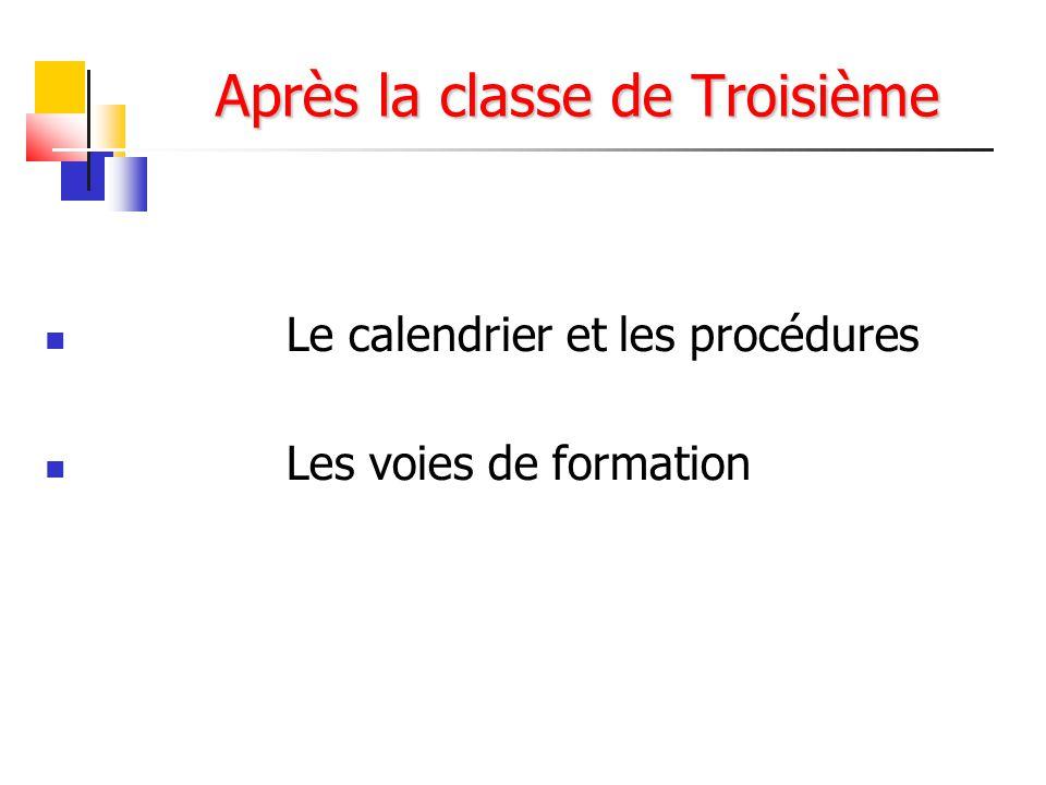 Après la classe de Troisième Le calendrier et les procédures Les voies de formation