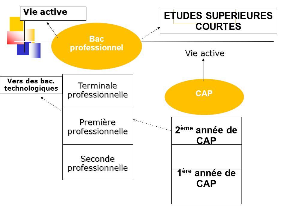 Vie active Vers des bac. technologiques 2 ème année de CAP 1 ère année de CAP CAP ETUDES SUPERIEURES COURTES Vie active Bac professionnel Terminale pr