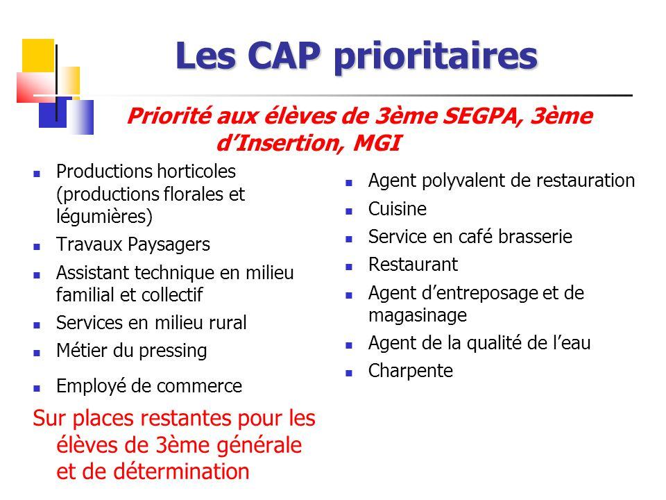 Les CAP prioritaires Productions horticoles (productions florales et légumières) Travaux Paysagers Assistant technique en milieu familial et collectif