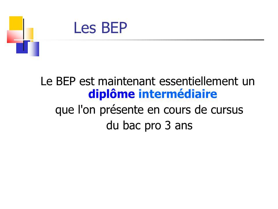 Les BEP Le BEP est maintenant essentiellement un diplôme intermédiaire que l'on présente en cours de cursus du bac pro 3 ans
