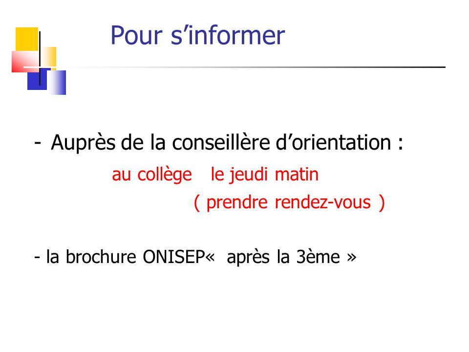 Pour s'informer -Auprès de la conseillère d'orientation : au collège le jeudi matin ( prendre rendez-vous ) - la brochure ONISEP« après la 3ème »