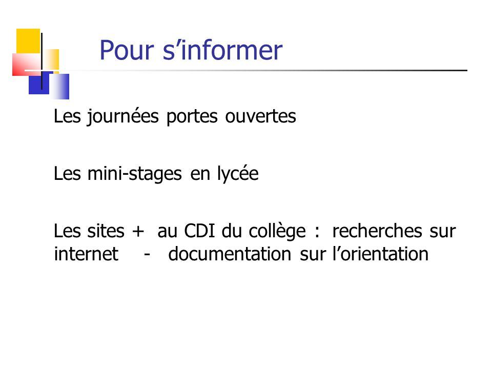 Pour s'informer Les journées portes ouvertes Les mini-stages en lycée Les sites + au CDI du collège : recherches sur internet - documentation sur l'or