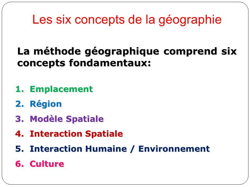 1.Emplacement 2.Région 3.Modèle Spatiale 4.Interaction Spatiale 5.Interaction Humaine / Environnement 6.Culture La méthode géographique comprend six c